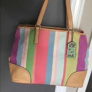 Authentic COACH Candy Colored Striped Tote